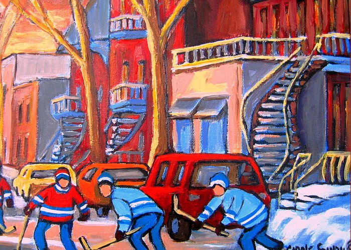 Debullion Street Hockey Stars Greeting Card featuring the painting Debullion Street Hockey Stars by Carole Spandau