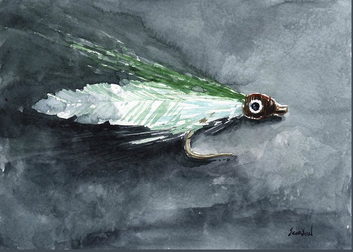 Fishing Greeting Card featuring the painting Deceiver Fishing Fly by Sean Seal