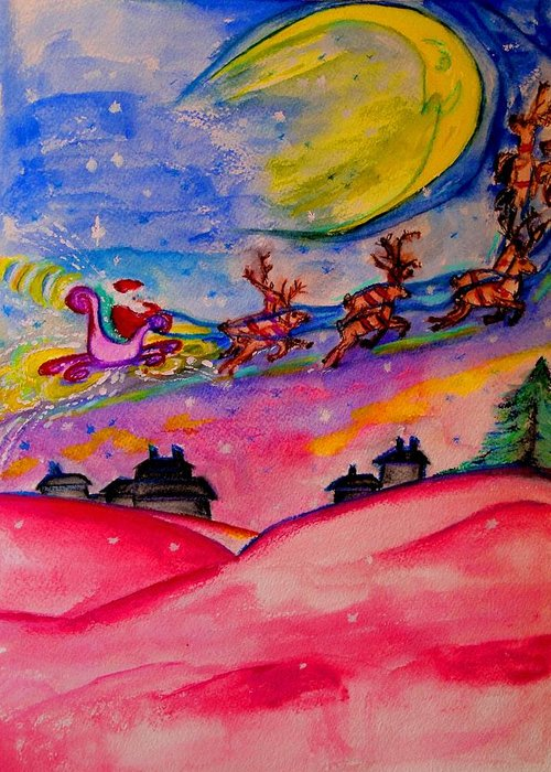 Quarter Moon Greeting Card featuring the painting December 24th by Helena Bebirian