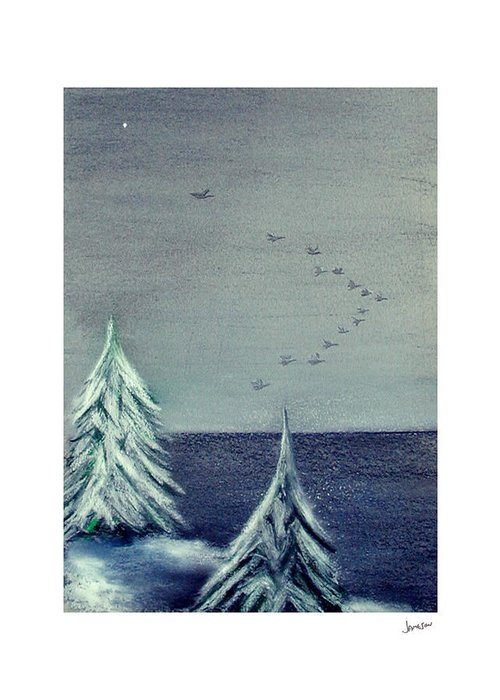 Winter Greeting Card featuring the painting December Dawn by Gary Jameson