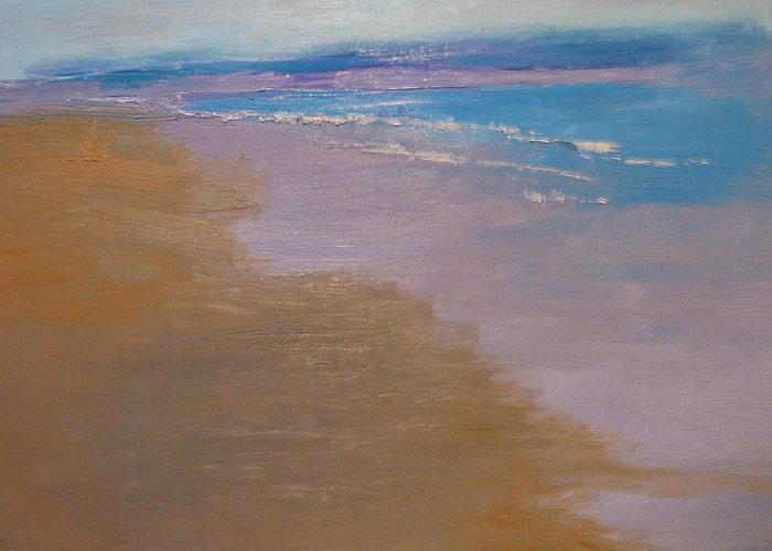 Sea Scape Greeting Card featuring the painting sold December Sea Shore in California by Irena Jablonski