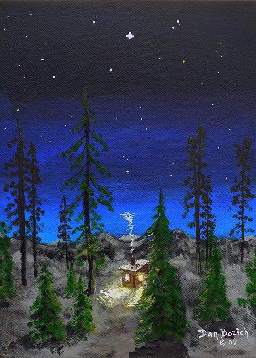 Bright Star Greeting Card featuring the painting Decembers Star by Dan Bozich