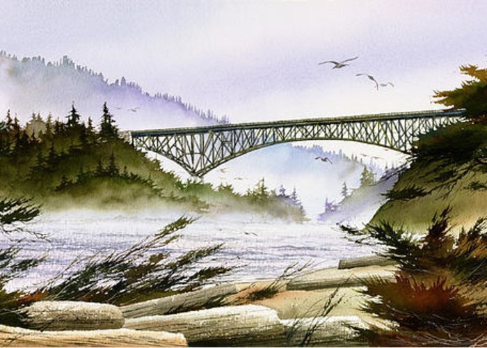 Landscape Fine Art Print Greeting Card featuring the painting Deception Pass Bridge by James Williamson