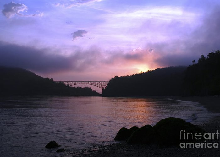 Sunrise Greeting Card featuring the photograph Deception Pass Sunrise by Idaho Scenic Images Linda Lantzy