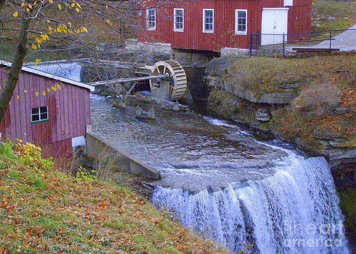 Autumn Scene Greeting Card featuring the photograph Decew Falls by Deborah Selib-Haig DMacq