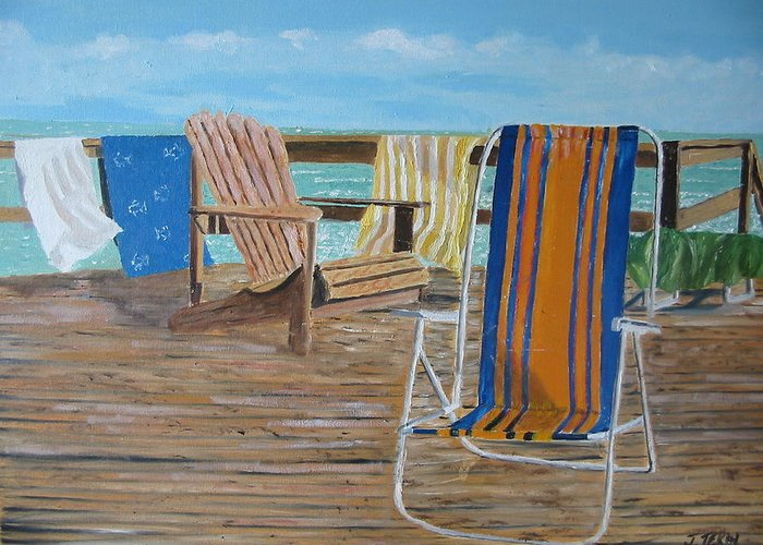 Seascape Greeting Card featuring the painting Deck Chairs by John Terry