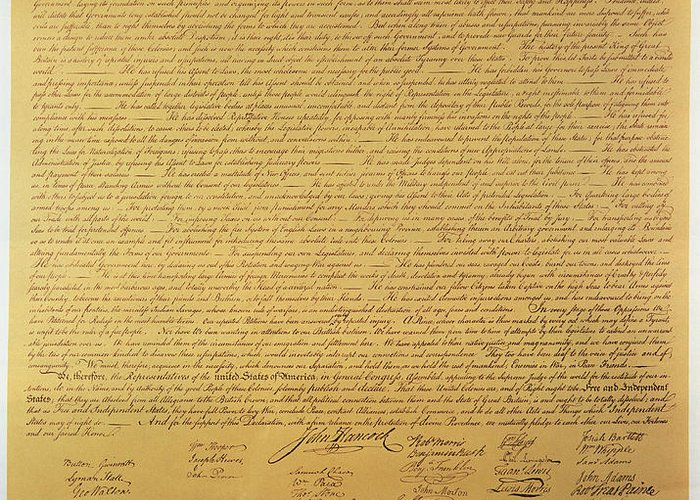 Declaration Greeting Card featuring the painting Declaration Of Independence by American School