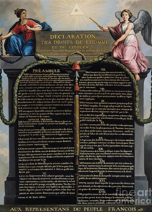 Declaration Greeting Card featuring the painting Declaration Of The Rights Of Man And Citizen by French School