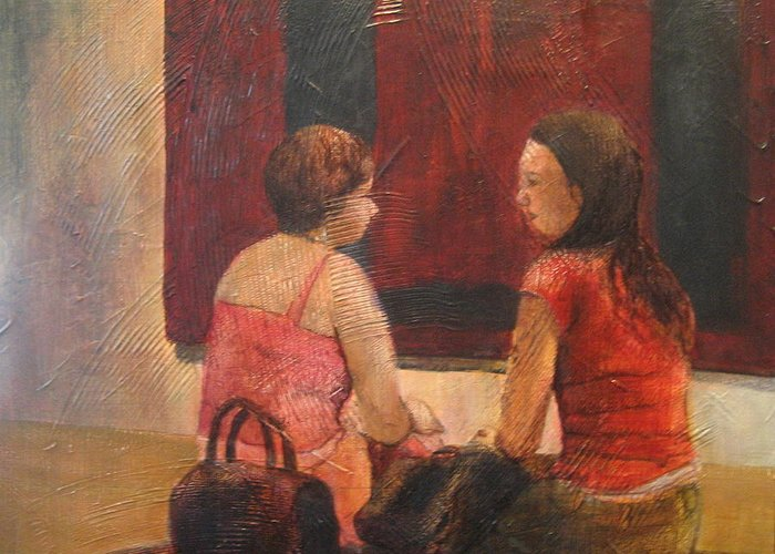 People Greeting Card featuring the painting Decontructing The Rothko by Victoria Heryet