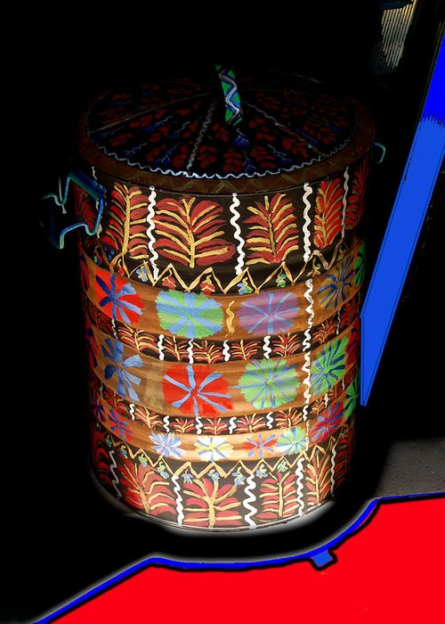 Water Barrel Greeting Card featuring the painting Decorated Water Barrel by Betty Roberts