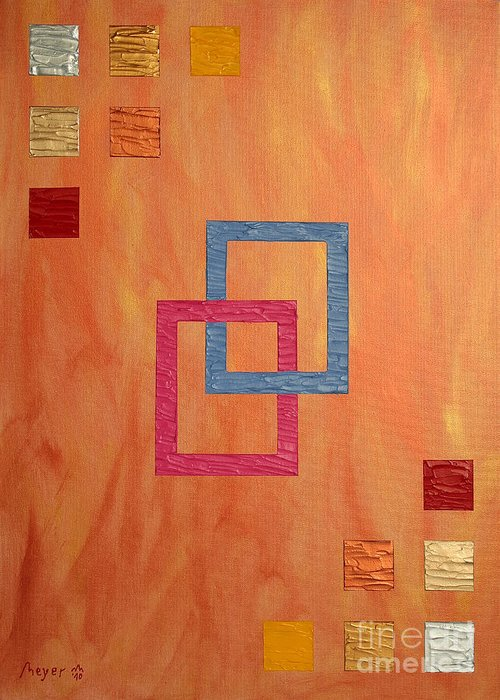Decorative Greeting Card featuring the painting Decorative Squares by Sascha Meyer