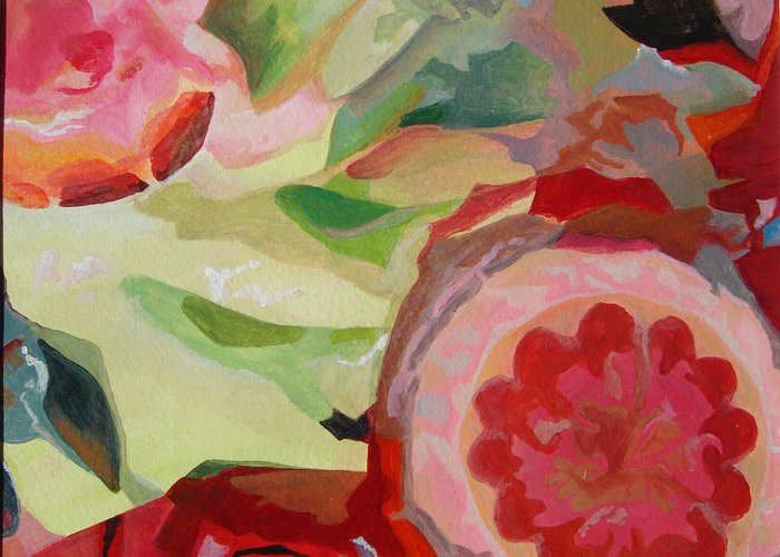 Abstract Greeting Card featuring the painting Decoupage by Muriel Dolemieux
