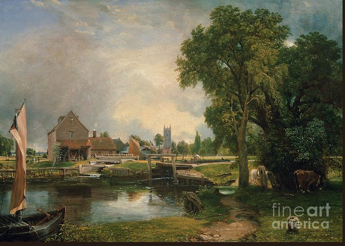 Dedham Greeting Card featuring the painting Dedham Lock And Mill by John Constable