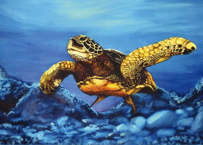 Turtle Greeting Card featuring the painting Deep Blue by Kathleen Kelly Thompson