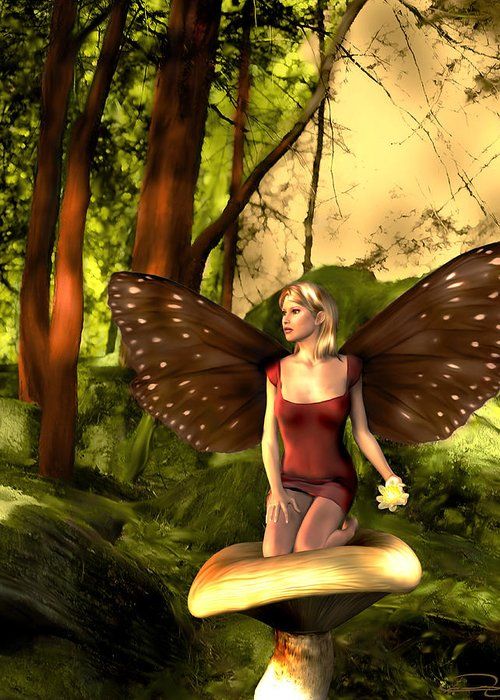 Fairy Greeting Card featuring the painting Deep In The Forest by Emma Alvarez