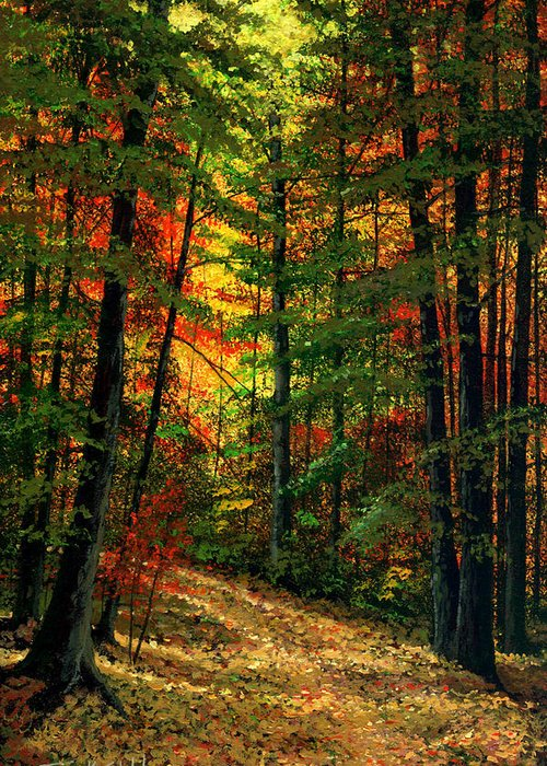 Landscape Greeting Card featuring the painting Deep In The Forest by Frank Wilson