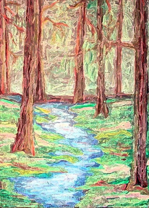 Landscape Greeting Card featuring the digital art Deep in the forest by Margie Byrne
