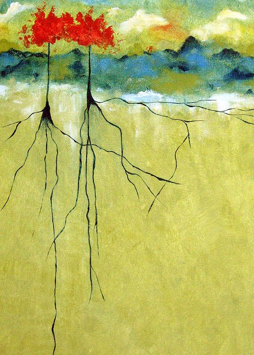 Abstract Greeting Card featuring the painting Deep Roots by Ruth Palmer