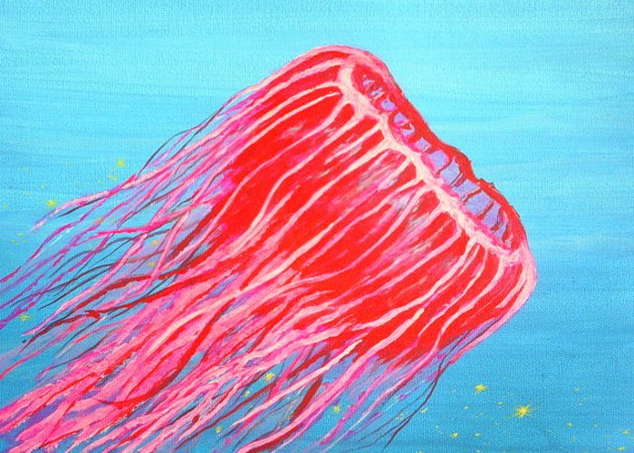 Sea Life Greeting Card featuring the painting Deep Sea Jelly by Dennis Vebert