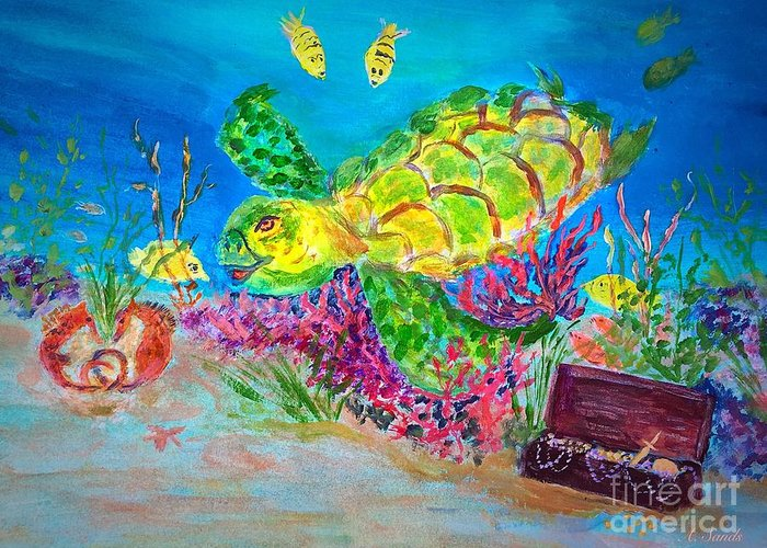 Sea Turtle Greeting Card featuring the painting Deep Sea Treasures by Anne Sands