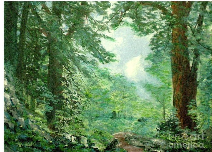 Landscape Greeting Card featuring the painting Deep Woods Path by Hal Newhouser