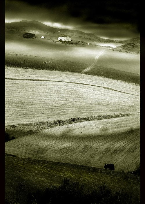 Landscape Greeting Card featuring the photograph Deepening Shadows by Mal Bray