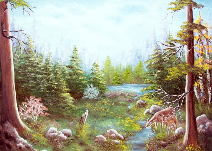 Landscape Greeting Card featuring the painting Deer And Stream by Joni McPherson