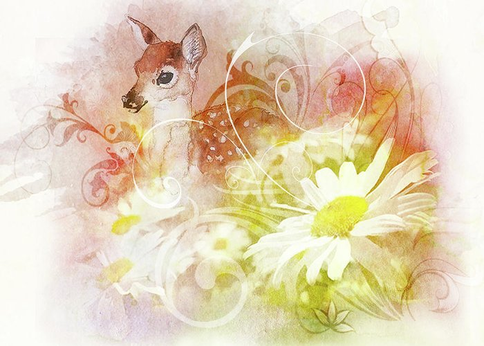 Art Greeting Card featuring the painting Deer One by Danny Hahlbohm