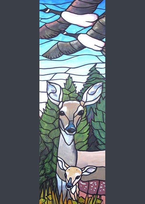 Deer Greeting Card featuring the painting Deer Scene by Jim Harris