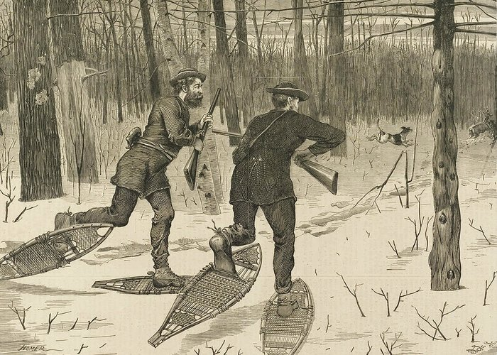 Winslow Homer Greeting Card featuring the relief Deer-stalking In The Adirondacks In Winter by Winslow Homer