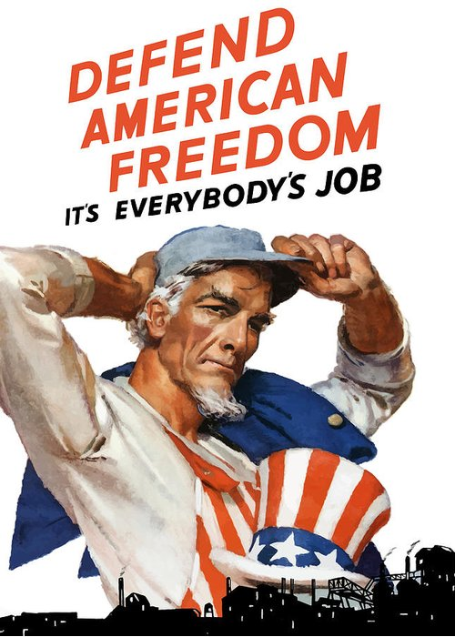 Uncle Sam Greeting Card featuring the painting Defend American Freedom It's Everybody's Job by War Is Hell Store