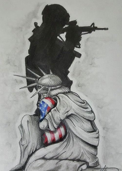 Liberty Greeting Card featuring the drawing Defending Liberty by Howard King