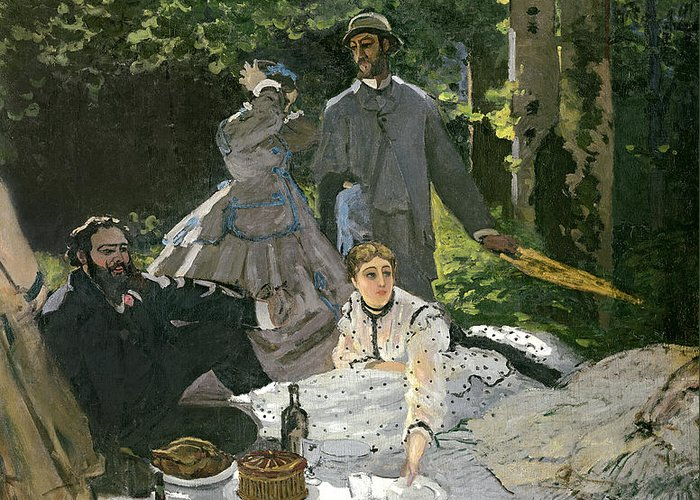 Dejeuner Greeting Card featuring the painting Dejeuner Sur Lherbe by Claude Monet