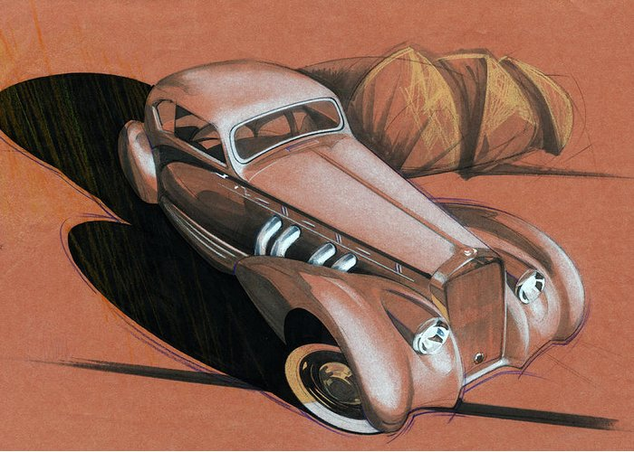 Delage Greeting Card featuring the drawing Delage by Andre Elista