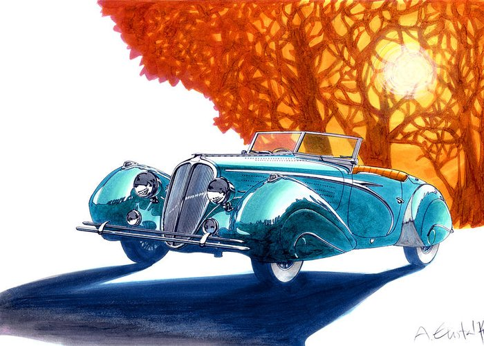 Delahaye Greeting Card featuring the drawing Delahaye 135 M Roadster by Andre Elista
