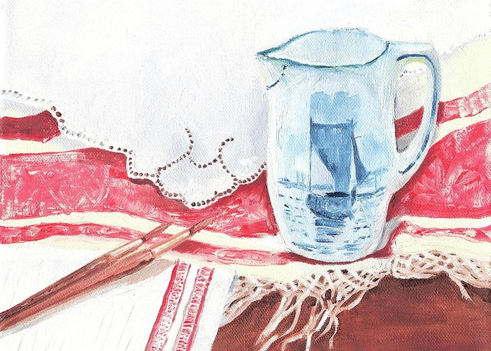 Pitcher Greeting Card featuring the painting Delft And Linens by Kathryn B