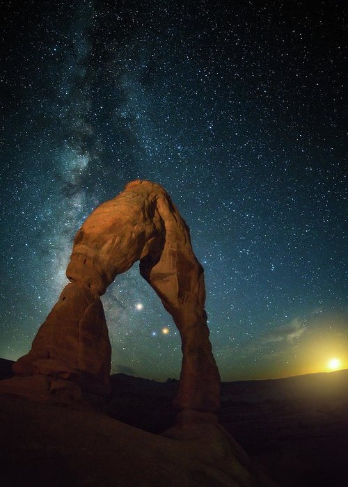 Delicate Arch Greeting Card featuring the photograph Delicate Arch Moonset by Darren White