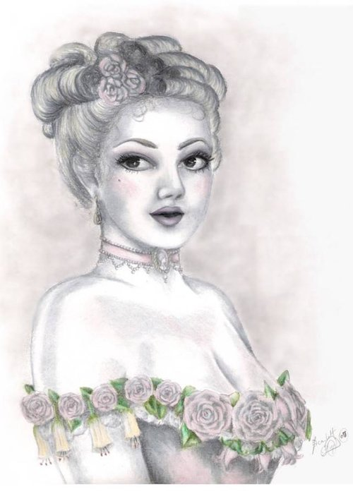 Portrait Greeting Card featuring the drawing Delicate Beauty by Scarlett Royal
