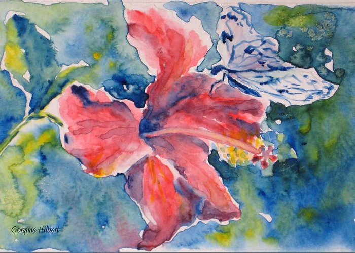 Butterfly Greeting Card featuring the painting Delicate Butterfly by Corynne Hilbert