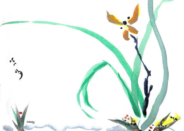 Flower Greeting Card featuring the painting Delicate Orchid by Casey Shannon