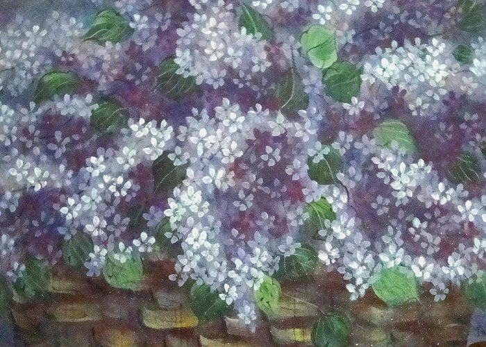 Perfumed Lilacs Greeting Cards Greeting Card featuring the painting Delicate Perfumed Lilacs by Natalie Holland