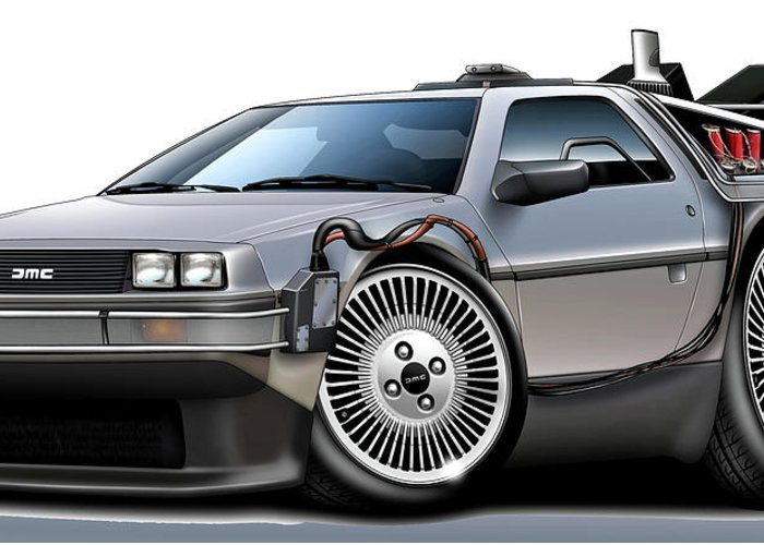 Delorean Greeting Card featuring the digital art Delorean Back To The Future by Maddmax