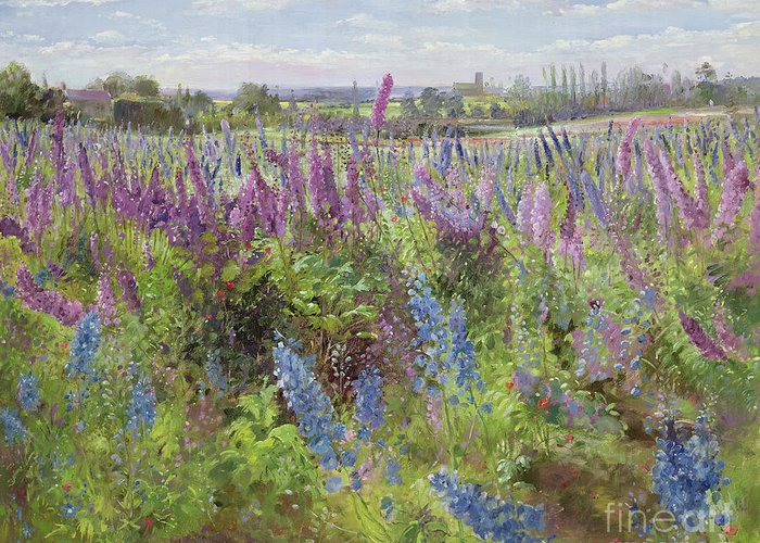 Delphinium Greeting Card featuring the painting Delphiniums And Poppies by Timothy Easton