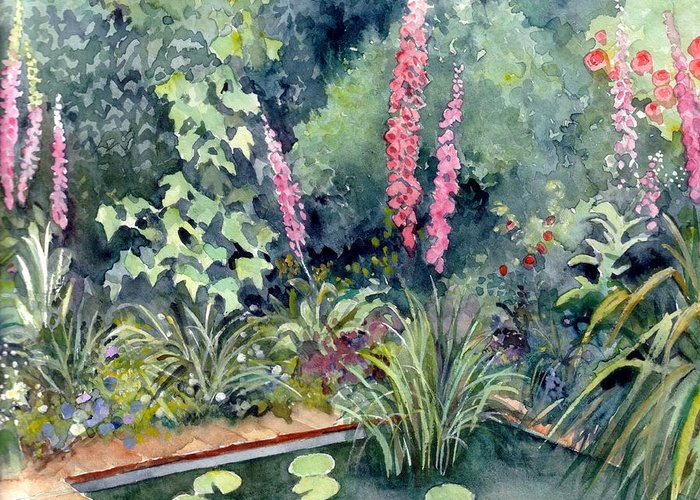 Gardenscape Greeting Card featuring the painting Delphiniums by Val Stokes
