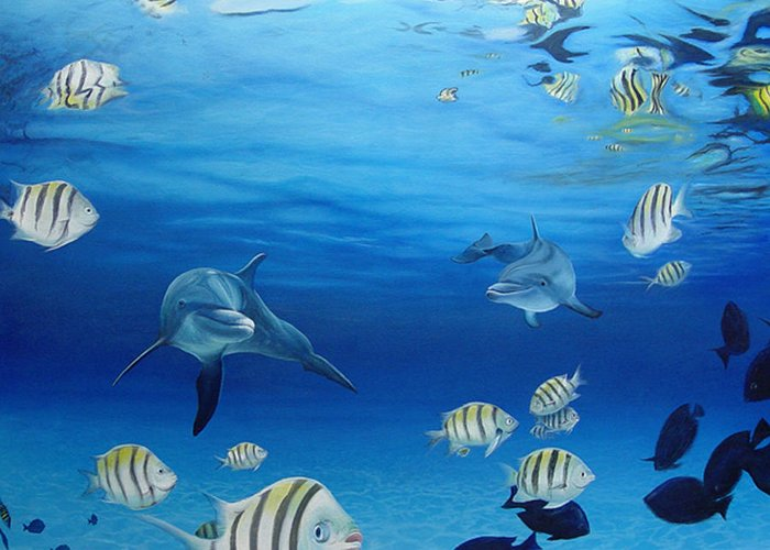 Seascape Greeting Card featuring the painting Delphinus by Angel Ortiz
