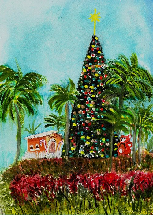 Delray Beach Greeting Card featuring the painting Delray Beach Christmas Tree by Donna Walsh
