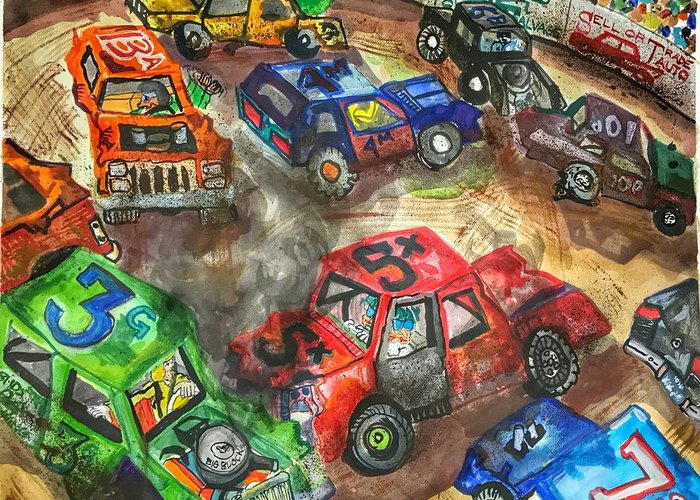 Gm Greeting Card featuring the painting Demo Derby One by Jame Hayes