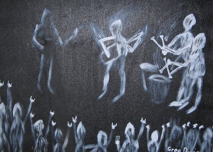 Concert Greeting Card featuring the painting Demon Band by Gregory Davis