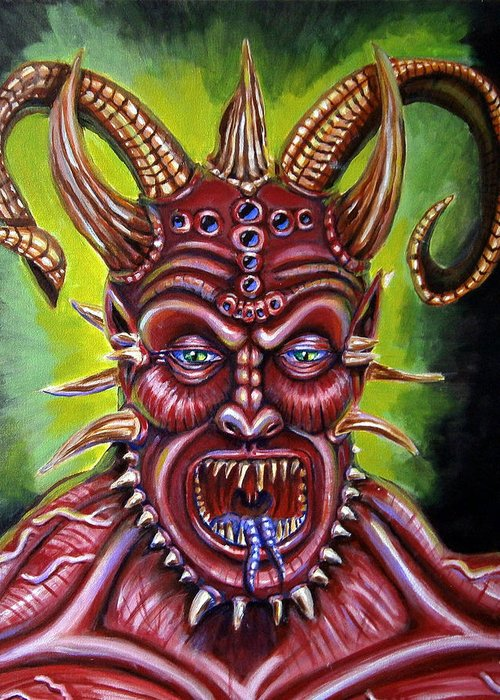 Demon Greeting Card featuring the painting Demon by Chris Benice