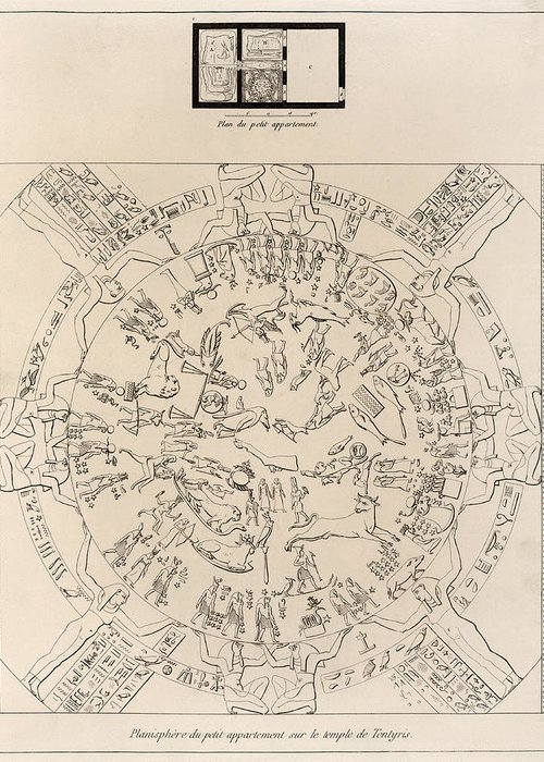 Dendera Zodiac Greeting Card featuring the photograph Dendera Zodiac From The Temple Of Hathor by Humanities And Social Sciences Libraryasian And Middle Eastern Division